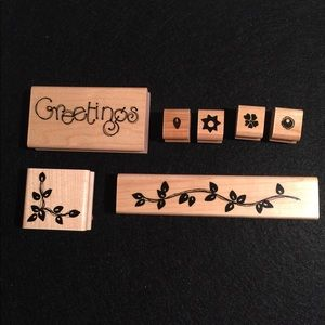 Floral Greeting Rubber Stamps